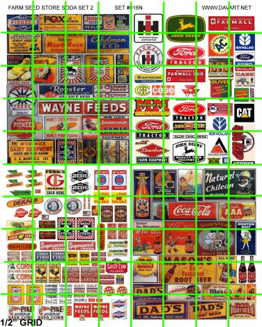 N016 - N SCALE DECALS ASSORTED FARM ADVERTISING GRAIN SEED FEED SIGNAGE