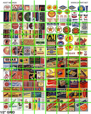 N026 - N SCALE ASSORTED BUSINESS BEER AUTOMOTIVE ADVERTISING SIGNAGE