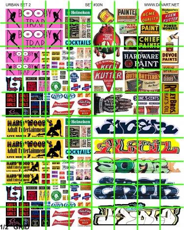 N030 - 2 STRIP CLUB SIGNAGE GRAFFITI PAINT ADVERTISING SET