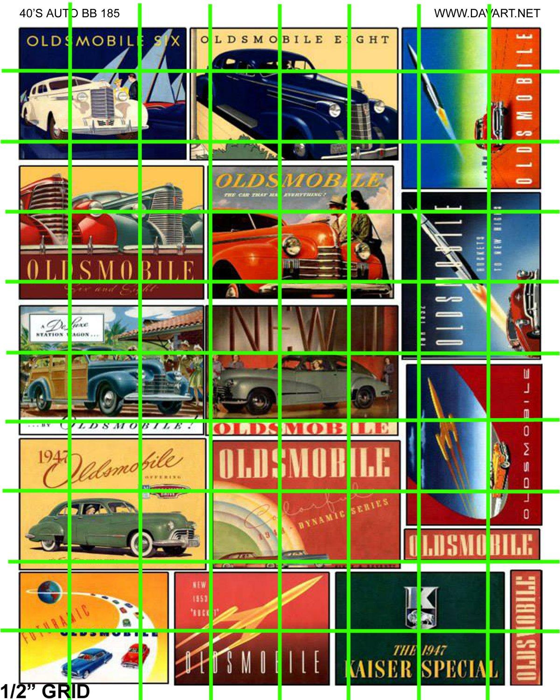 0185 - AUTOMOTIVE  BILLBOARDS 1940's 1950's STYLE