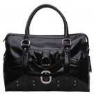 Alexandra Jordan Black Leather Luggage Style Tote