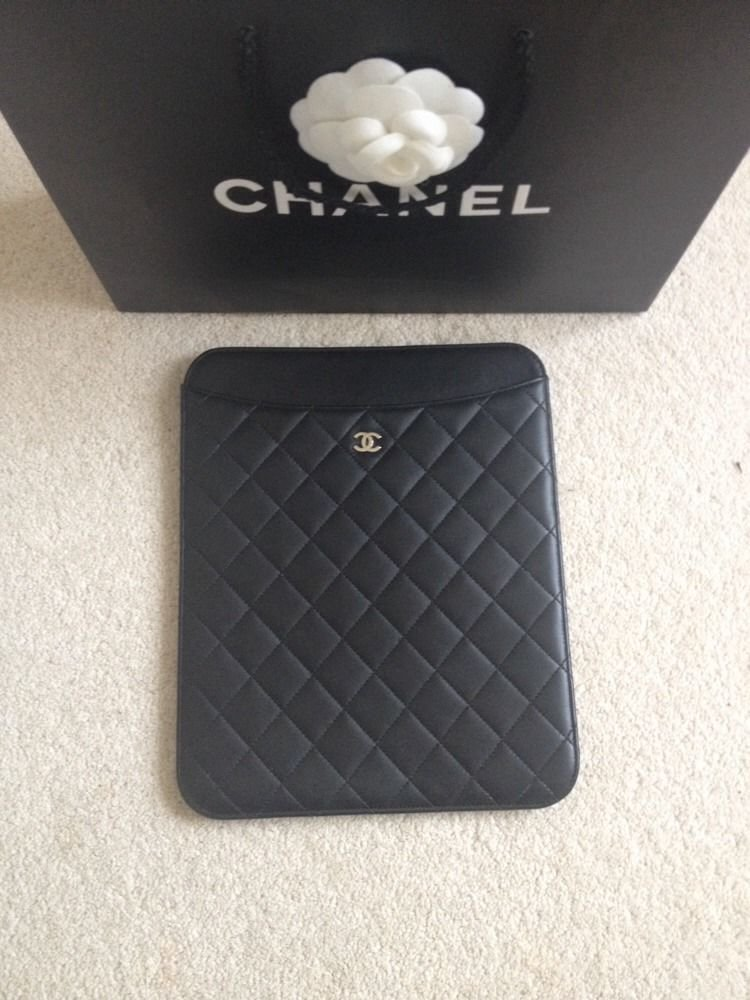 8f8cf70430f7a0 Chanel Black Lambskin Quilted Leather iPad Tablet Case Pouch