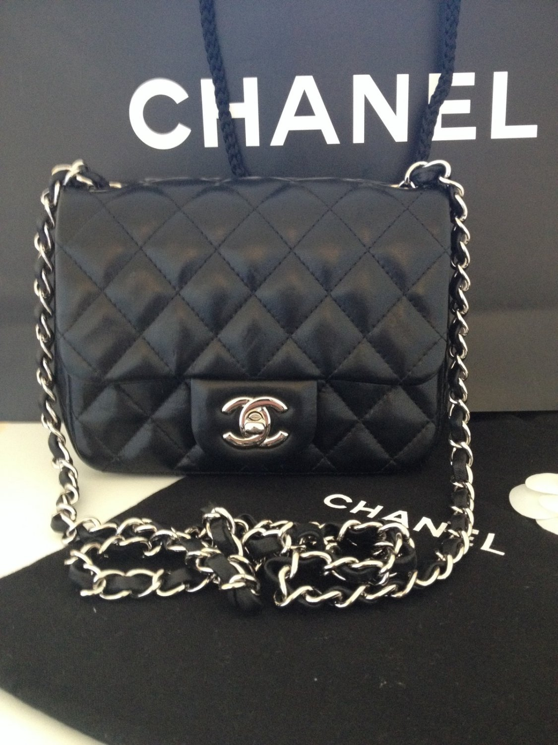 d030831491e Chanel Black Lambskin Leather Classic Mini Flap Wallet on Chain Clutch Bag  SHW