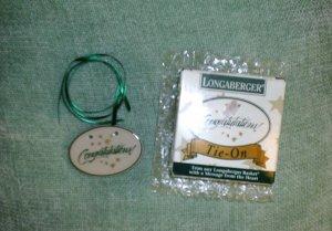 LONGABERGER Congratulations! Green Basket Tie-On 1994
