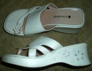 White Platform Wedge Heeled Sandals Easter Shoes Girl Size 4.5 4 1/2