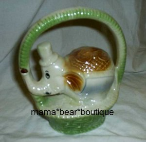 Vintage 1906 Elephant In Basket Old Ceramic Figurine Brazil