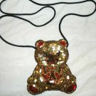 Sparkly Sequined Teddy Bear Christmas Purse Stocking Stuffer