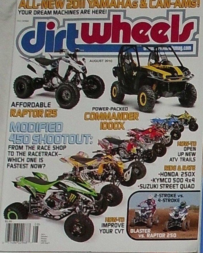 1 Back Issue Dirt Wheels Magazine August 2010