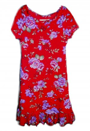 JONATHON MARTIN Red Crepe Floral Dress Girls 6x 7