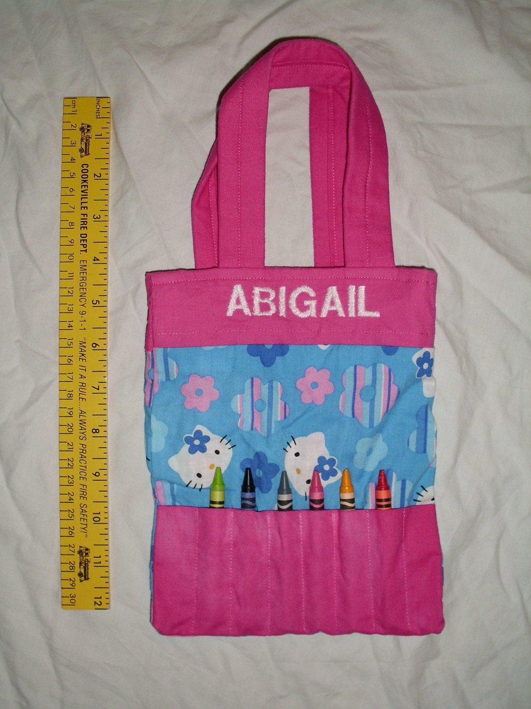 "Hello Kitty Personalized ""Abigail"" Crayon Tote Handbag Purse Little Girls Bag"
