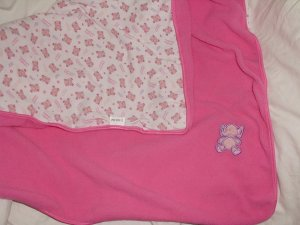 Dakin Pink Elephant Fleece/Cotton Security Blanket Receiving lovey blanky