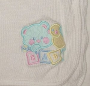 Bear Duck White Thermal Waffle Knit Security Blanket Baby Receiving