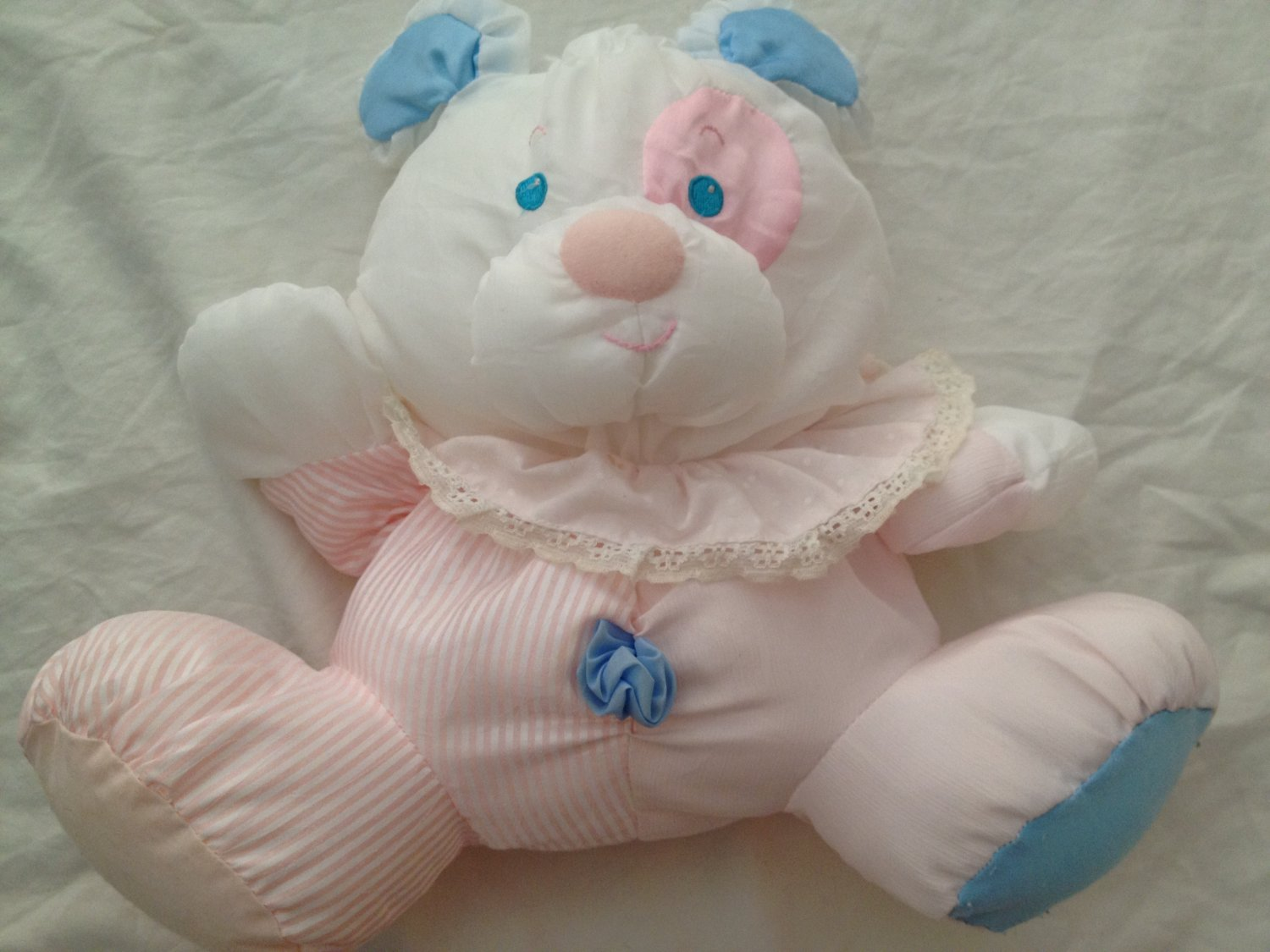 Blue And White Stuffed Dog With Fluffy Pink Collar