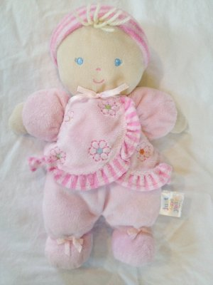 Carters Just One Year Pink rattle Doll Blonde Soft Plush baby First Lovey Lovie velour