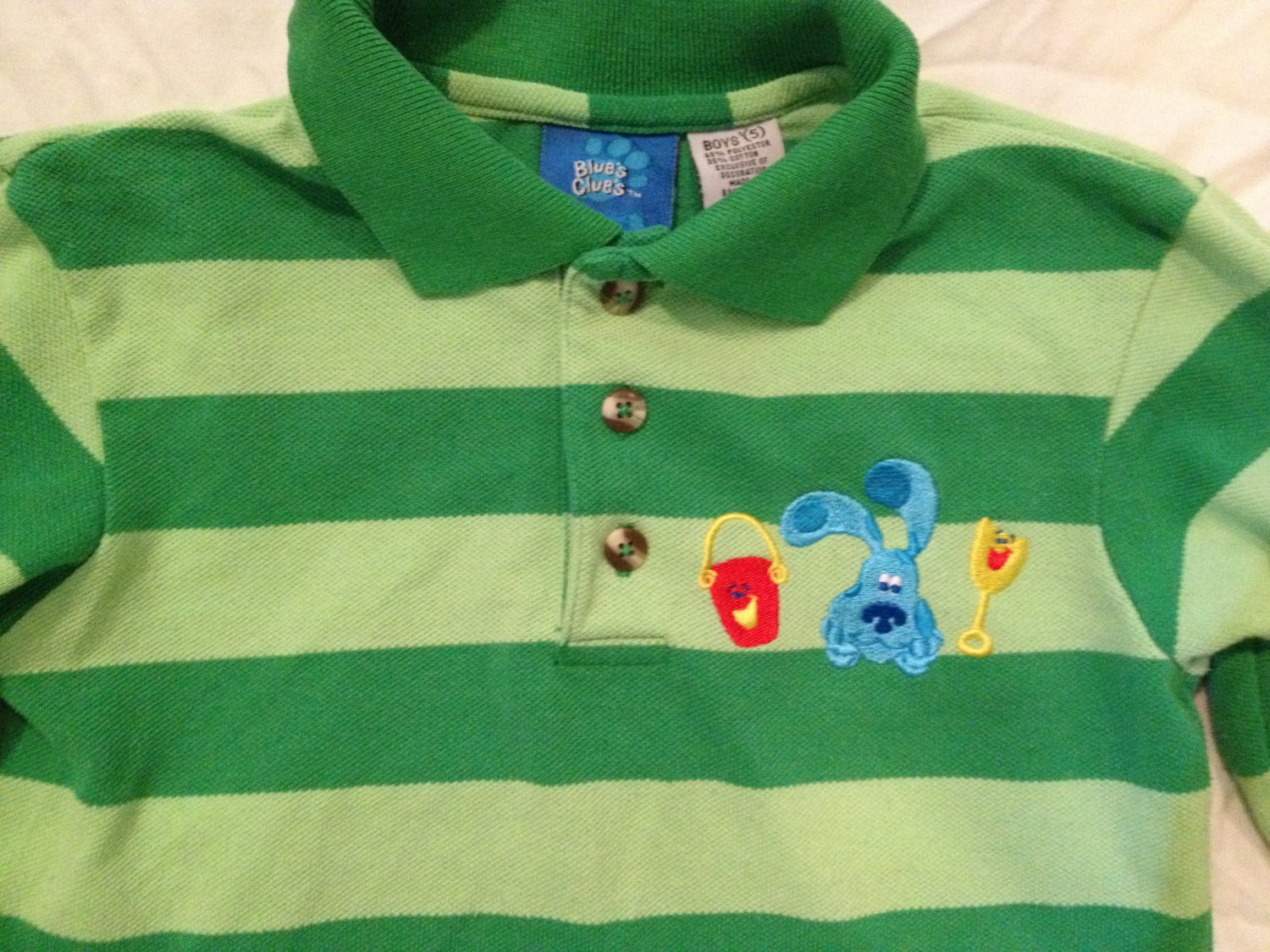Blues Clues Steve Polo Shirt Boys Size 5 Green Rugby Stripe Long