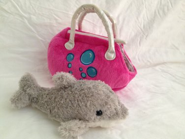 "The Petting Zoo Dolphin with Purse Carry Case 8"" Carrying"