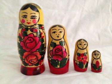 Authentic Russian Semenov Wooden Nesting Dolls Matryoshka for Display purchased USSR Russia Wood