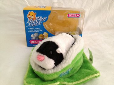 Zhu Zhu Pet Hamster Black/white w Green Bed ZuZu Zu