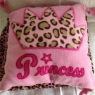 Leopard Print Princess Pink Fleece Blanket Throw Pillow Set