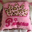 Leopard Print Princess Pink Fleece Blanket Throw Pillow Set