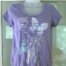 Gloria Vanderbilt Top Women Size S Blouse Banded Bottom Hem Butterfly T-Shirt
