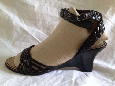 Etienne Aigner Black Leather Wedge Sandal Women Size 7.5  Ankle Strap Buckle