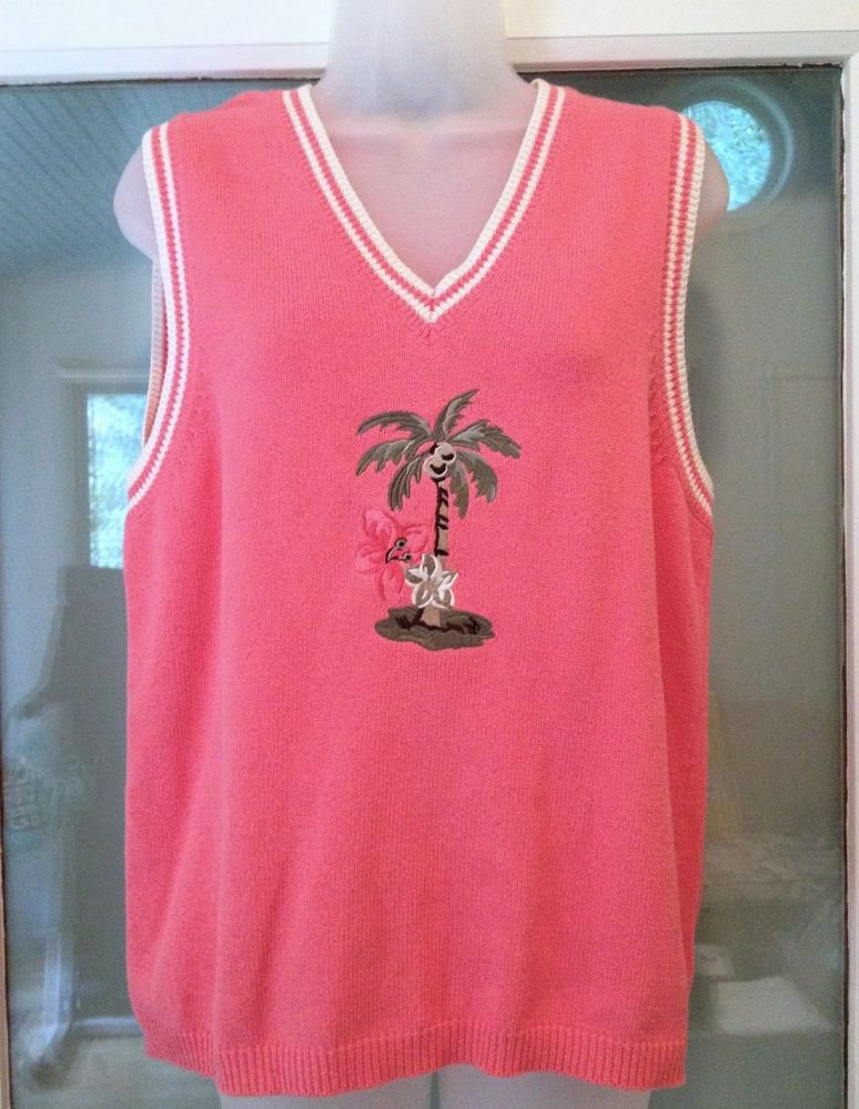 Sag Harbor V-neck Sweater Vest Women S Pink Coconut Palm Tree Sleeveless