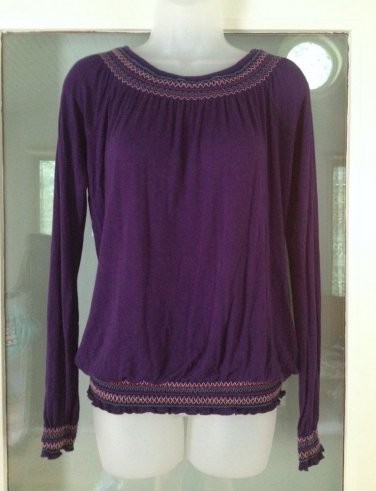 Miley Cyrus Max Azria Peasant Top Size S Juniors Purple Smocked Elastic Blouse