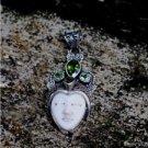 925 Silver Bali Moon Face 42mm Natural Bone  Inlay Pendant PS37