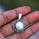 925 Sterling Silver Bali Handmade 20mm Flower White Mabe Pearl Pendant PS36
