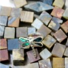 925 Sterling Silver Dragonfly Natural Abalone Paua Shell Inlay Ring Size 8