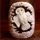 "Hand Carved Owl 2.5"" Natural Buffalo Bone Pendant Bead Necklace BP1190"