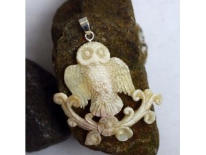 "Hand Carved Owl 2.6"" Natural Buffalo Bone 925 Silver Pendant BP1445"