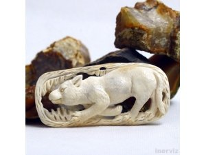 "Hand Carved Cat 3.3"" Natural Buffalo Bone Pendant Bead Necklace BP1334"
