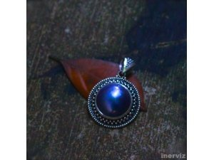 925 Sterling Silver Bali Handmade 25mm Round Blue Mabe Pearl Pendant PS20