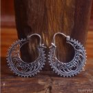 925 Sterling Silver Bali Handmade Traditional Balinese Flower Dangle Earring ES5