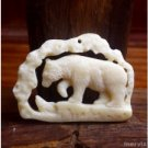 "Hand Carved Bear 2.3"" Buffalo Bone Pendant Bead Necklace BP986"