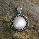 925 Silver Bali Moon 37mm Natural Mabe Pearl Seashell Pendant PS35