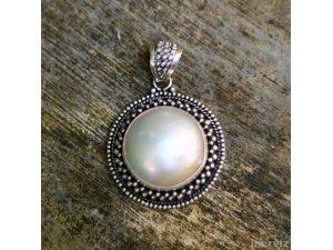 925 Silver Bali Moon 37mm Natural Mabe Pearl Seashell Pendant PS35