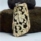 "Hand Carved Butterfly 2.7"" Natural Deer Antler Pendant Silver 925 AP1530"