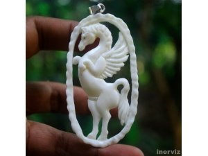 "Hand Carved Pegasus 3.1"" Natural Buffalo Bone 925 Sterling Silver Pendant BP951"