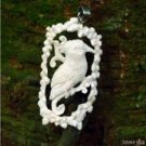"Hand Carved Bali Bird 3.2"" Natural Buffalo Bone 925 Silver Pendant BP1570"