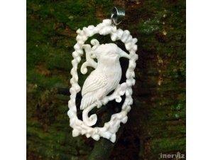 "Hand Carved Bali Bird 3.2"" Natural Buffalo Bone 925 Silver Pendant BP1570"