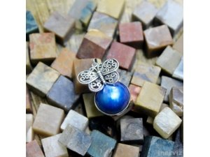 925 Sterling Silver Butterfly w Blue Mabe Pearl 35mm Bali Handmade Pendant PS21