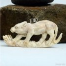 "Hand Carved Cat 2.9"" Natural Buffalo Bone 925 Silver Pendant BP1557"