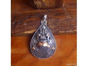 925 Sterling Silver Bali Handmade Barong Dance Figure w Gold 18K 60mm Pendant