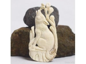 "Hand Carved wolf 3.5"" Natural Buffalo Bone Pendant Bead Necklace Jewelry BP1437"