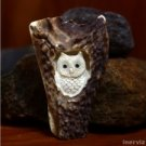 "Hand Carved Owl 3.3"" Natural Deer Antler Pendant Bead Necklace AP1322"