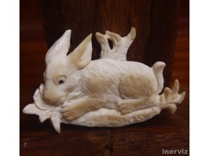 "Hand Carved Rabbit 2.3"" Natural Buffalo Bone Pendant Bead Necklace BP1047"