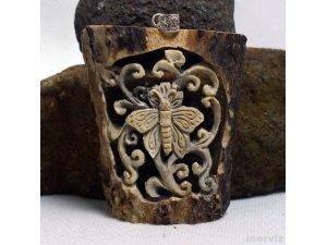 "Hand Carved Butterfly 3"" Natural Deer Antler Pendant Sterling Silver 925 AP1510"